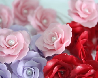 Miniature Roses Handcrafted Clay with Pearl bead, 20 pcs., in Pink-Violet-Red