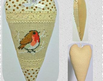 Redbird Heart Decoration, Christmas Heart Ornament, Handmade Cotton Decoration, Xmas Home and Holiday Decor, Christmas Tree