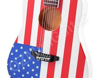 Miniature Acoustic Guitar USA Flag