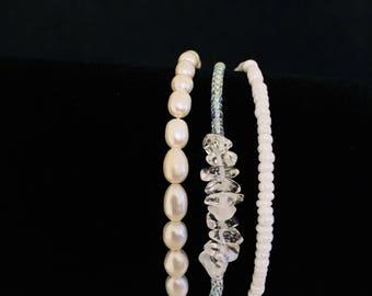 Beach pearl bracelet, Gemstone Bracelet, Seed Bead Bracelet