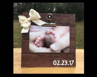 Birth Date - Birthday - Special Date/Day Custom Made - New Baby Birth Announcement - Family Gift - Picture/Photo Clip Frame - Options!
