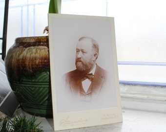 Antique Photograph Victorian Man with Beard 1800s Cabinet Card