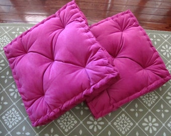 Ticking Floor Pillow Tufted Floor Cushion with French
