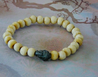 Tibetan Buddha/Buddhism 27 Count Natural Wood (Mala)  Bracelet