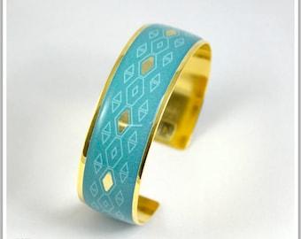 2 cm gold plated 24 k Pamela Carla green blue Cuff Bracelet
