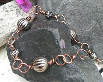 Silver and Copper Chain Bracelet