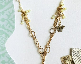 Spring Daisy Necklace - braided brass chains glass and metal beads