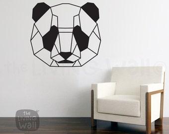 Geometric Head Panda Wall Decal Sticker Home Decor, Head Panda Monochrome Vinyl Wall Stickers, Australian Made
