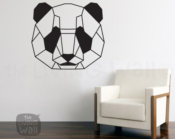 Featured listing image: Geometric Head Panda Wall Decal Sticker Home Decor, Head Panda Monochrome Vinyl Wall Stickers, Australian Made