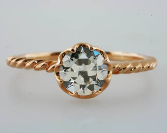 Old European Cut Diamond Antique Style Engagement Ring 0.75 Ct 18k Rose Gold