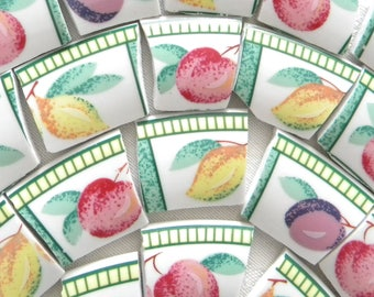 SALE - Fruit MOSAIC China Tiles - Broken China - Recycled Plates