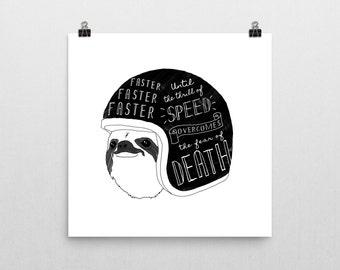 Hipster Sloth motocycle artwork print