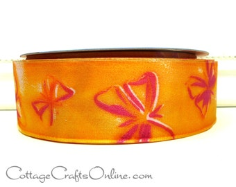 "Wired Ribbon, 1 1/2"",  Orange Butterfly Print Taffeta Satin - THREE YARDS -  Offray ""High Flying"" Spring, Garden Craft Wire Edged Ribbon"