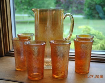 Imperial Glass Pitcher and 6 Tumblers in Tree Bark-Iridescent Marigold Pattern