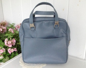 Vintage Sears Feather Lite ~ Light Blue Carry On Bag Overnight Bag, Travel Suitcase Overnight Luggage Carry on Luggage