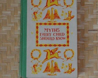 Vintage children's book /Myths Every Child Should Know/mythology fantasy hero fiction Greek Norse Cyclops Homer deckle edge rough cut pages