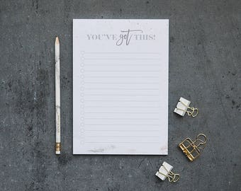 Daily Planner - To Do List - Notepad - Desk Pad - Stationery - A5 Notepad - Shopping List - Grocery List - You've Got This