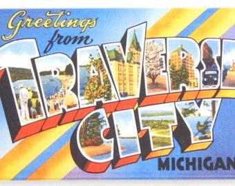 Greetings from Traverse City Michigan Fridge Magnet