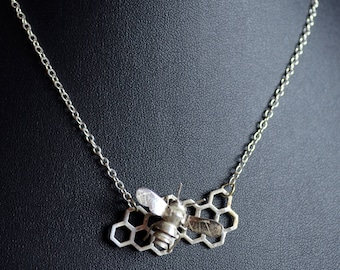 Bumblebee & Honeycomb Pendant Necklace - Sterling Silver - Handmade Necklace
