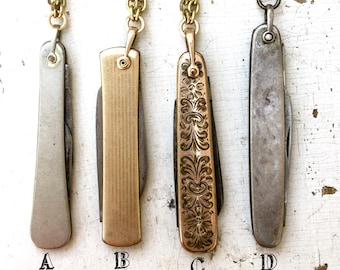 1 Fob Knife necklace pocket knife pendant. Watch chain fob. folding knife pocket 2 blade 1920s deco etched gold victorian Bulk Discounts A25