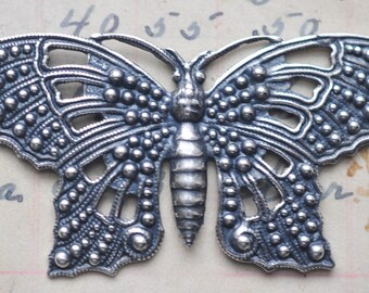 Filigree Butterfly Brass Stamping, Sterling Silver Ox, Filigrees and Brass Stampings, Jewelry Supplies by Calliopes Attic