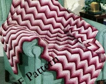 Chevron Crochet Afghan Pattern, Vintage 1948, Classic, PDF Instant, Digital Download