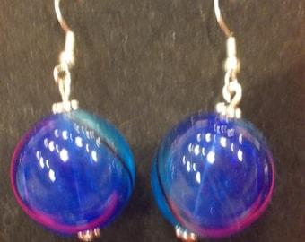 Blown Glass Earrings - Blue tones