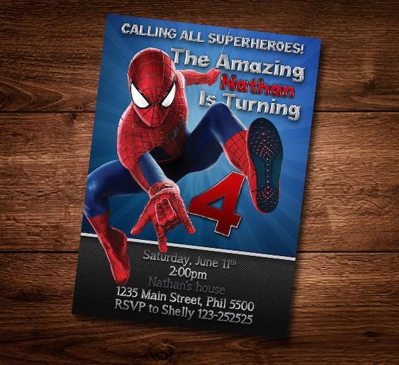 Spiderman birthday card customized birthday theme birthday spiderman birthday card customized birthday theme birthday invite card template diy psd digital download bookmarktalkfo Choice Image