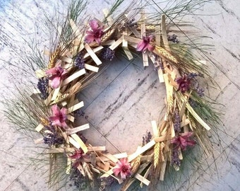 "12"" Cottage Orchid Wreath - Preserved Orchids Wreath - Year Round Wreath"