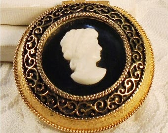 Vintage Max Factor Compact, Classic MF Petite Pac, 1950s Cameo Compact, Mirror Compact Case, Goldtone Powder Compact, Pressed Powder.