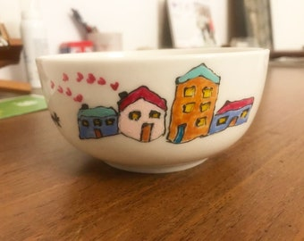 Cereal Bowl, Ceramic Bowl, Handpainted bowl, Handmade bowl, Custom Bowl, Flower, Perfect Gift, Porcelain Bowl, Home is Where My Dogs Are