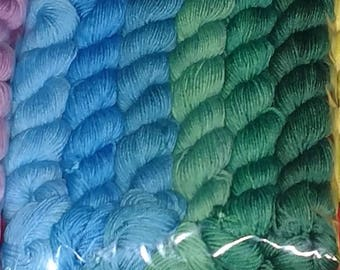 Blue and Green Gradient Sock Yarn Mini Skeins, Set of 6, 120g/552yds, Superwash Merino/Nylon