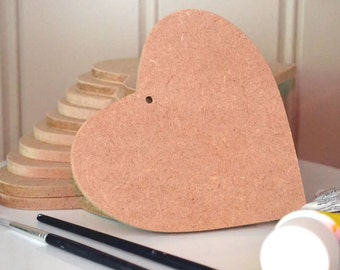 Pack of 6 HEART shaped MDF plaques wedding favour gift project with hole 115mmx115mmx6mm