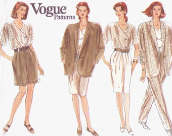 1990s Womens Unlined Jacket, Top, Tapered Skirt, Office Shorts & Pants Vogue Sewing Pattern 2464 Size 8 10 12 Bust 31 1/2 to 34 UnCut