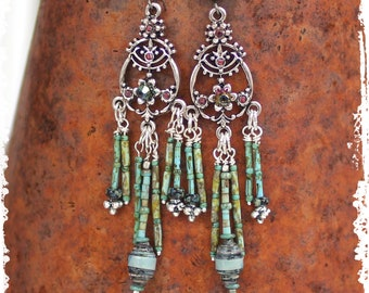 Chandelier Earrings Beaded Dangle Long Gypsy Bollywood Gift for Her Rustic Boho Lightweight Statement One of a Kind