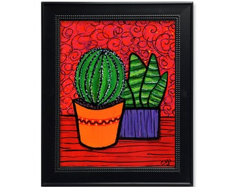 Succulent Art Print - Still Life Print - Bright Colors - Red and Green Wall Art - 5x7 8x10 11x14 with optional black mat