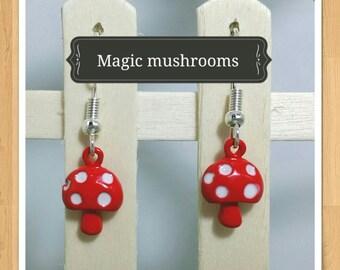 RED TOADSTOOL EARRINGS cute fun whimsical kitsch retro mini food earrings cute earrings rockabilly earrings polka dot earrings