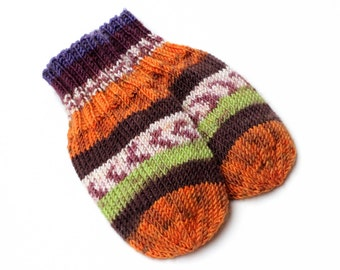 Vegan Wool-Free Acrylic Baby Mittens on String. Hand Knit Thumbless Cordless Baby Mitts. Winter Mittens. 9 to 12 Months Infant Hand Warmers