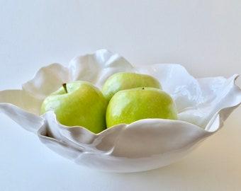 Organic Ceramic Bowl ~ Ceramic Bowl ~ Pottery Bowl Handmade ~ Ceramic Serving Bowl ~ Pottery Bowl Handmade Large ~White Ceramic Serving Bowl
