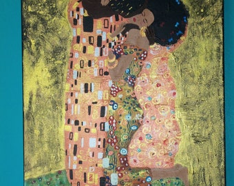 "Inspiration, original painting ""Nubian Kiss"" AJE ""the Kiss"" Gustave Klimt"