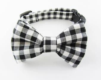 Black & White Even--Checked Pattern Dog Bow Tie 100% Cotton Made in USA