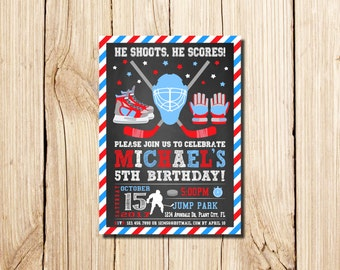 Hockey Birthday Invitation Ice Hockey Party Hockey