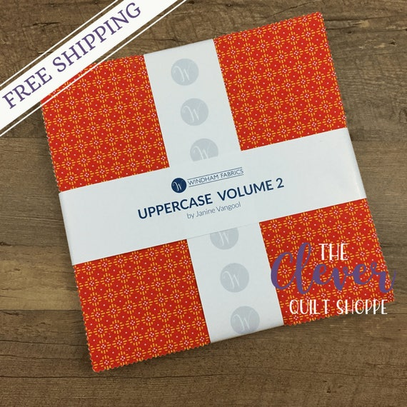 "Layer Cake, 10"" Squares, Windham, Uppercase Vol. 2, Janine Vangool, 42 pcs, Precut Quilting Fabric"