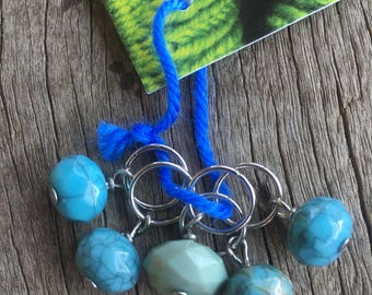 Turquoise and Green Stitch Markers