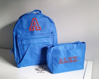 Boys backpack and lunchbox,  personalized toddler backpacks for boys, monogram backpack set
