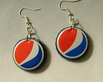 Recycled Pepsi Bottle Cap Earrings Cola Soda Pop