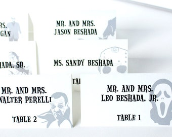 Halloween Wedding Place Card Gothic Handmade Custom Personalize Bridal Horror Movie Icons
