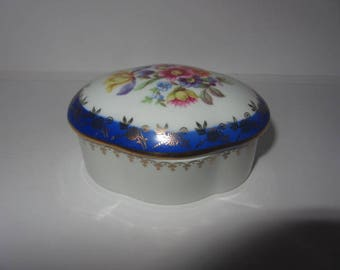 Vintage German Dresden Porcelain painted trinket box