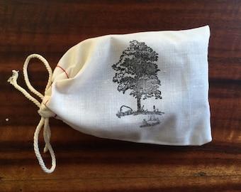 Muslin Soap Bag,Tree, 4x6- gift bag only/oak tree bag/forest bag/soap bag/hand-stamped cloth bag/gift bag/soap gift/jewelry bag/favor bag