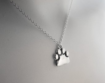 SILVER PAW NECKLACE, animal lover gift, dog lover gift, cat lover necklace, thoughtful gift, pet lover gift, Gift Wrapped, charity
